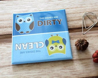 """Clean Dirty Dishwasher Magnet 2.5"""" x 2.5"""" inches, Cute Blue Green Owls Woodland Animals Creatures Novelty Gift Idea for Home Kitchen Fridge"""