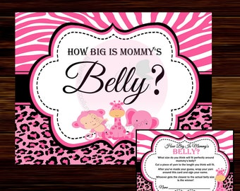 Pink Safari Belly Guess Game,  Instant Download  - Digital File