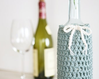 Wine Bottle Cozy in Sea Foam