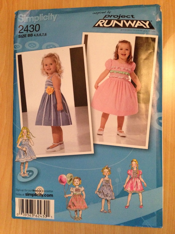 Simplicity 2430 Sewing Pattern Toddler and Childs Dress with Bodice and Trim Variations Uncut Size 4-8