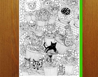 Cats and Cupcakes! - Color Your Own Greeting Card - Adult Coloring Card