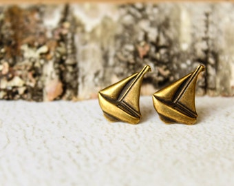 Sailboat Earrings, Available in Antiqued Silver, Aged Brass, and Aged Copper