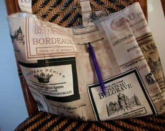Bag of wine labels beige and Black - Burgundy wine Tote - Tote wine labels - large bag