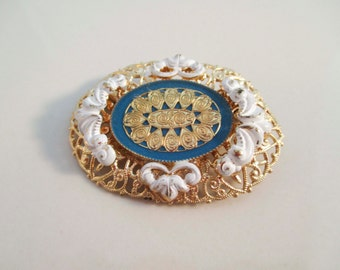 Gold Victorian Hand Painted Blue White Brooch Vintage Antique