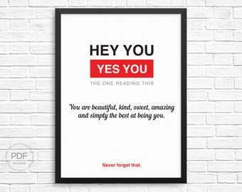 You are beautiful, kind, sweet, amazing and simply the best at being you, typography, quotes, wall art, Bestfriend Gift, Husband Gift