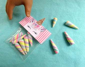 """American Unicorn Food 18"""" Girl Dolls Unicorn Candy Bag, Unicorn Accessory for 18 inch Dolls, Miniature Unicorn Horn Candies with Gold Horn"""