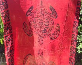 Red Tribal Fringeless Sarong/Tupenu/Lavalava/Pareu/Pareo.
