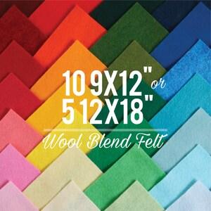 Wool Felt Sheets // Choose your own colors // 9x12 or 12x18 Felt Sheets, Wool Blend Felt, Felt Bows, Felt Supplier, Felt Shop, Felt Fabric