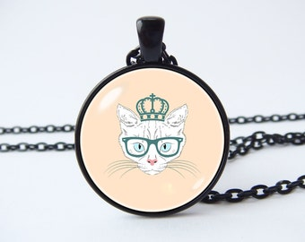 Necklace funny cat White cat necklace Cat jewelry Pet jewelry Girls gift Cat pendant Girlfriend gift Cute cat necklace Cat lover gift Cats
