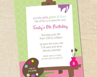 Sweet Wishes Pastel Painting Art Party Invitations - PRINTED - Digital File Also Available