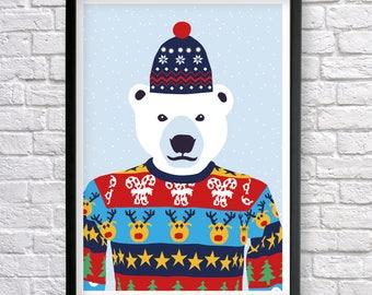 Polar Bear poster, Polar Bear print, Bear Print, Kids room wall decor, Nursery Wall Art, Christmas Gifts, animal prints, Cute nursery print