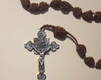 Large brown crocheted rosary