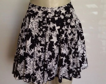 Stars skirt, XS, S, mini skirt, organ pleated skirt, black mini skirt, summer skirt, fall skirt, celestial skirt
