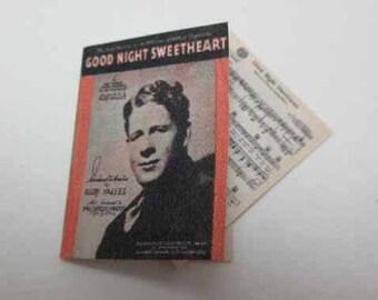 Sheet Music Good Night Sweetheart - dollhouse miniature 1:12 scale