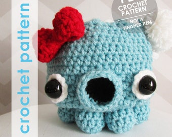 Crochet bag pattern, kawaii takochu octopus drawstring pouch, dice bag, anime inspired, gift for tabletop gamers, dungeons and dragons