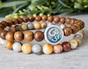 Om Bracelet, Yoga Bracelet, Yoga Jewelry, Mala Bracelet, Gemstone Bracelet, Wood Bracelet, Stacking Bracelet, Agate Bracelet, Ohm Bracelet