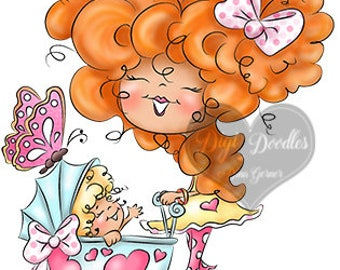 Instant Download Digital Stamp Digi Stamp Baby Love by Dina Gerner