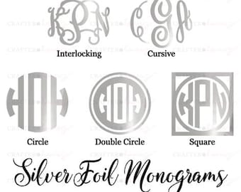 """Silver Foil Monogram Decal - **LIMITED EDITION** - Choose 2"""", 3"""" or 4""""- perfect for phone/tablet cases, waterbottles, cars and more"""