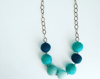 Montrose Felt Necklace in Aqua, Turquoise Felt Balls, Beaded Necklace, Unique Statement Necklace, Merino Wool, Mom Gift, Chicago Fashion