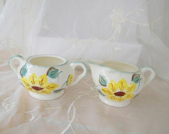 Sunflower Sugar Bowl and Creamer Set, Vintage Items, Yellow, Brown, Green and Cream