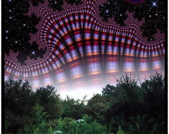 The Rose Moon - psychedelic universe art print