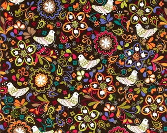 Birds of Norway Espresso - One Yard - Michael Miller Fabric