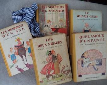 Vintage/collectible Hachette /COMTESSE DE SÉGUR/5 books illustrated by by A.Pécoud / 1950