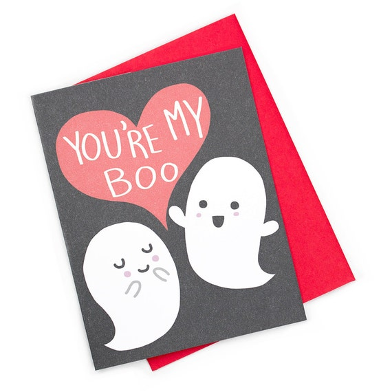 Cute Valentine Card Your My Boo Ghost Love Card Funny Card