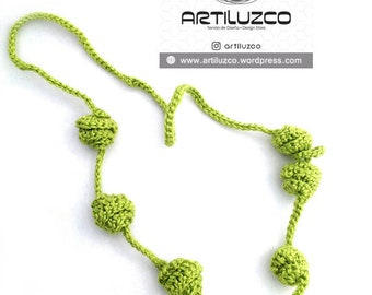 Apple Green Irisbo, Crochet necklace, Necklace in natural fibers, Handmade knitted necklace