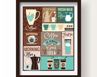 Coffee kitchen decor Coffee kitchen poster Dining room decor Kitchen wall art Brown turquoise kitchen coffee poster Coffee lovers Coffee art