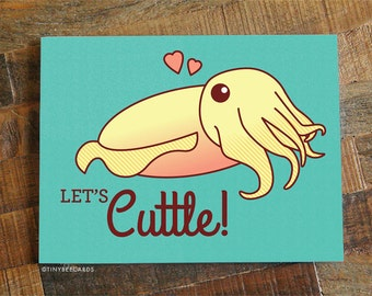 """Funny Love or Anniversary Card """"Let's Cuttle!"""" - Cuttlefish Love Card, for Boyfriend Girlfriend Husband Wife or Significant Other, Valentine"""