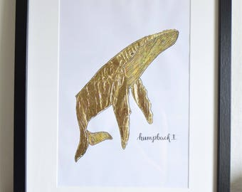 Golden humpback whale water color and sheet metal DIN A4 with lettering / / Golden with humpback whale watercolor and metal foil lettering