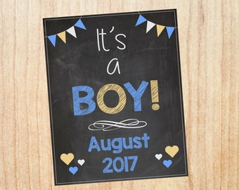It's a Boy Announcement Sign PRINTABLE new baby pregnancy chalkboard poster