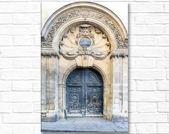 Paris Photography on Canvas - Historic Marais Door, Classic Paris Architecture, Gallery Wrapped Canvas, Large Wall Art
