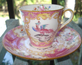 Minton Pink Cockatrice Demitasse Cup and Saucer