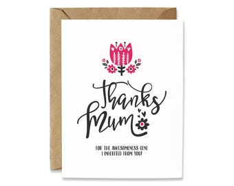 Mother's Day card - Birthday card for Mom - Card for Mom - Card for Mum - Thanks Mom - Cute card for mom - Funny Mother's Day card