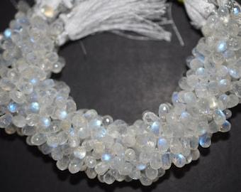 Good Quality White Rainbow Moonstone Tear Drop Faceted Briolette ,Rainbow Moonstone Faceted Briolette , 5x8-5x10 mm - MC274