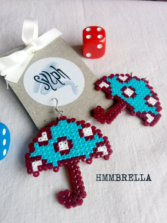 Quirky turquoise colored pixelart Hmmbrella earrings made of Hama Perler beads with white polkadots, OOAK gift to brighten up wet days!