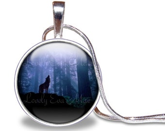 Wolf Necklace, Wolf Howling Necklace, Wolf Pendant, Blue Necklace, Glass Tile Necklace, Wolf Jewelry, Wolf Gift, Silver Plated Necklace