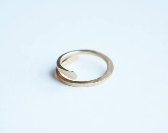 Unisex Forged Brass Wire Ring