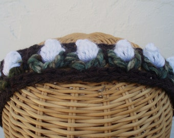 Hand Crocheted Hairband Brown with White Rosebuds