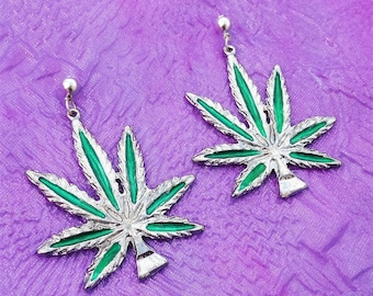 Big 90s Vintage 420 SMOKE UP Pot Leaf Pendant Earrings with Silver Earring Posts
