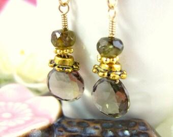 Brown quartz gold dangle earrings, Victorian brown crystal drop earrings