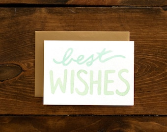 mint & gold best wishes card