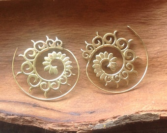 Spiral Flower Brass Earrings