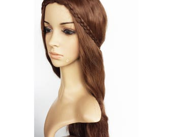 Long wavy brown wig. synthetic high quality wig hair. ready to ship.