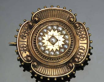 1870's-1880's 14k Gold Victorian Etruscan Revival Pin w/ Pearls