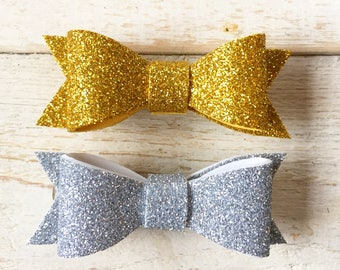 Set of Two Glitter Bows, Silver Bows, Gold Bows, Sparkle Bow Headbands, Glitter Bow Hair Clips