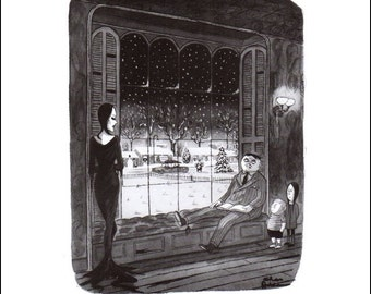 "Vintage The New Yorker Magazine Cover Poster Print Art, Addams, 1962 Matted to 11"" x 14"", Item 002, Addams Family"
