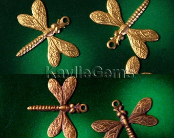 Dragonfly Charm One Ring Stamping Art Raw Brass / Oxidized Antique Brass Made in USA- S4 - 4pcs